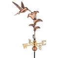 "14 1/2""L x 15 1/2""H x 8""W Wingspan, Hummingbird Garden Weathervane, Polished Copper"