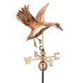 "19""l X 17""h X 27"" Wingspan, Landing Duck Weathervane, Polished Copper"