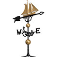 "18 1/4""L x 13 3/4""H 46"" Yacht Traditional Directions Weathervane, Gold-Bronze"