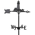 "11""L x 9 3/4""H 30"" Lighthouse Traditional Directions Weathervane, Garden Black"