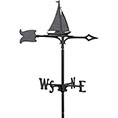 "8""L x 10""H 30"" Sailboat Traditional Directions Weathervane, Garden Black"