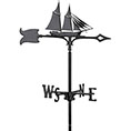 "12 1/4""L x 9""H 30"" Schooner Traditional Directions Weathervane, Garden Black"