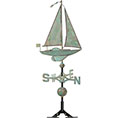 19&quot;L x 4&quot;W x 49&quot;H Copper Sailboat Classic Directions Weathervane, Verdigris