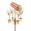 "10 1/2""H x 13 1/2""W Martini with Glasses Weathervane, Polished Copper"