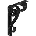 "2""W  x 10""D x 12""H Devon Triple, Wrought Iron Bracket, (Triple center brace)"