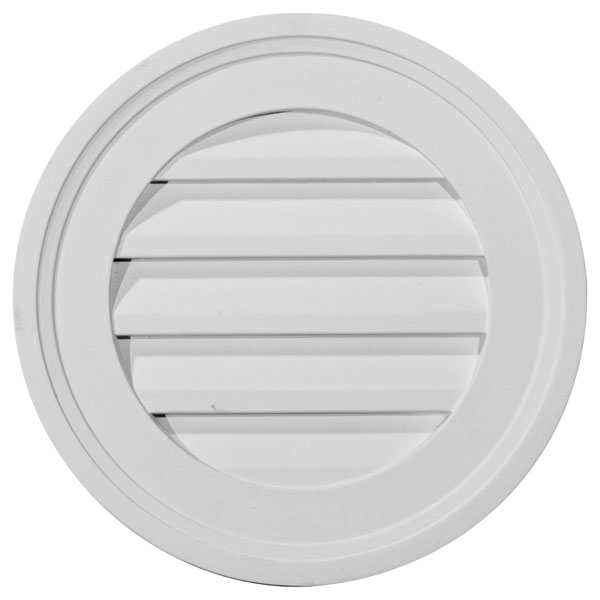"16""W x 16""H x 1 5/8""P, Round Gable Vent Louver, Decorative"