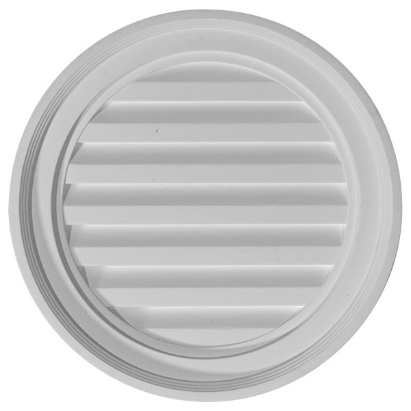 "18""W x 18""H x 1 3/4""P, Round Gable Vent Louver, Decorative"