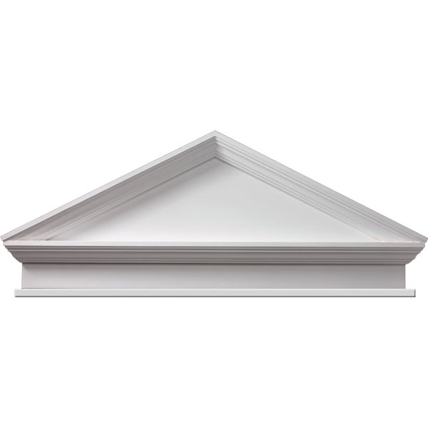 "47 1/2""W x 52""OW x 20 1/2""H x 3 1/8""P, Pitch 6/12 Combination Peaked Cap Pediment with Bottom Trim,"