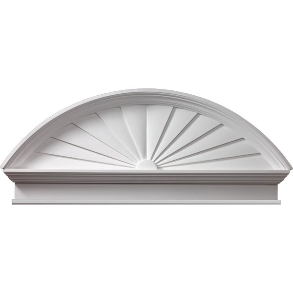 "54""W x 58 1/2""OW x 22 3/8""H x 3 1/8""P Combination Sunburst Pediment with Bottom Trim, Urethane"