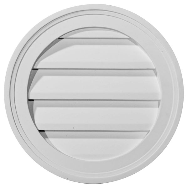 "12""W x 12""H x 1 1/4""P, Round Gable Vent Louver, Functional"