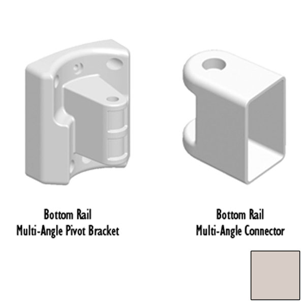 BOTTOM RAIL BRACKET, Tan Multi-Angle Pivot & Connector  (Includes 1 Rod and 2 Caps)