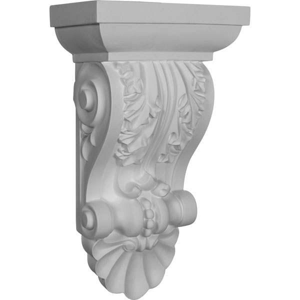 """8 1/2""""W x 5""""D x 14 1/2""""H Acanthus with Shell Corbel"""