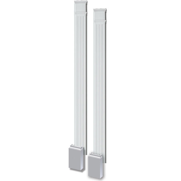 "11""W x 144""H x 3 1/2""P Fluted Pilaster, with Adjustable Plinth Block, (set of 2)"