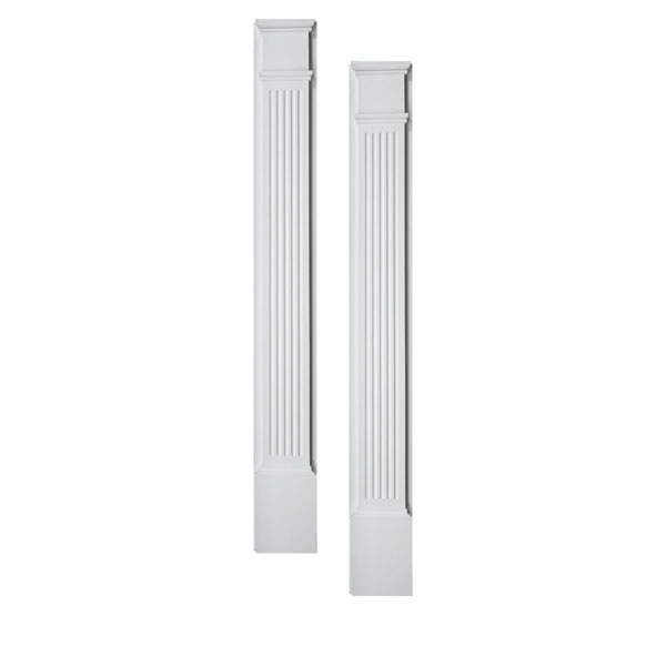 "4 1/2""W x 86""H x 1 5/8""P Fluted Pilaster, Moulded (one piece) with Plinth Block, (set of 2)"