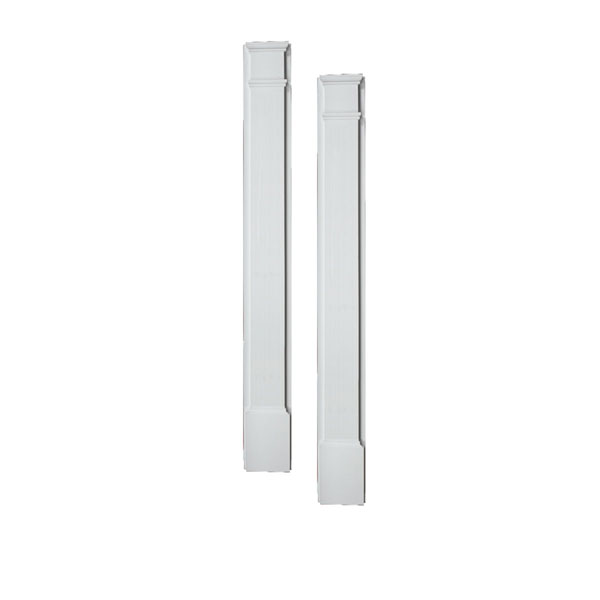 "7""W x 90""H x 2 1/2""P Smooth Pilaster, Moulded (one piece) with Plinth Block, (set of 2)"