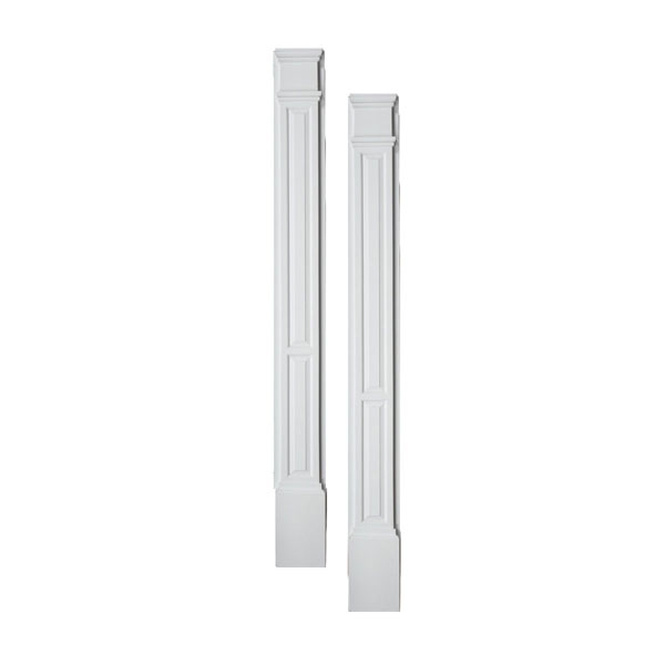"""9""""W x 90""""H x 3""""P Double Panel Pilaster, with Plinth Block, (set of 2)"""