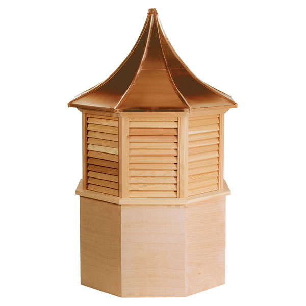 Western Red Cedar Stephenson Presidential Octagon Louver Cupola with Copper Roof