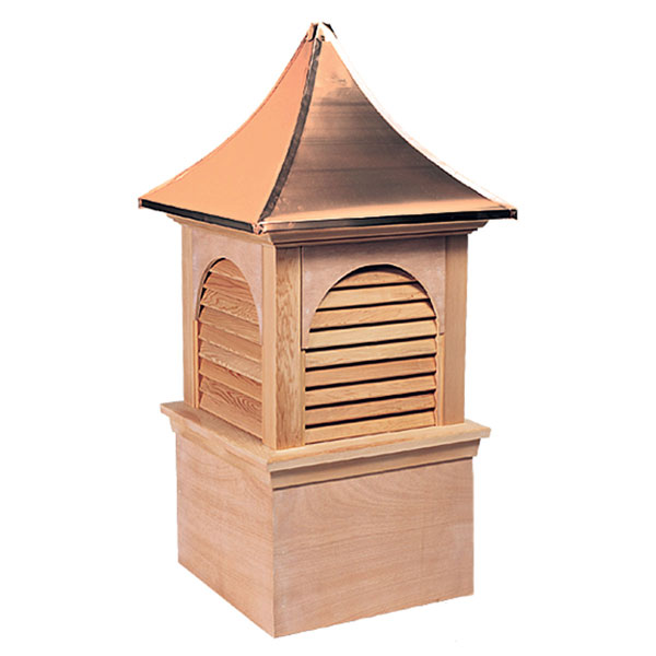 Western Red Cedar Stephenson Hyde Park & Charleston Louver Cupola with Copper Roof
