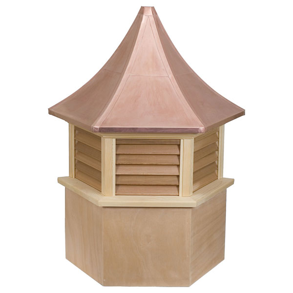 Western Red Cedar Stephenson Presidential Hexagon Louver Cupola with Copper Roof