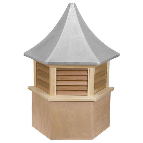 Western Red Cedar Stephenson Presidential Hexagon Louver Cupola with Aluminum Roof