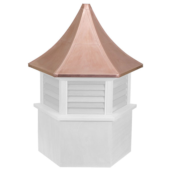 Vinyl Stephenson Presidential Hexagon Louver Cupola with Copper Roof