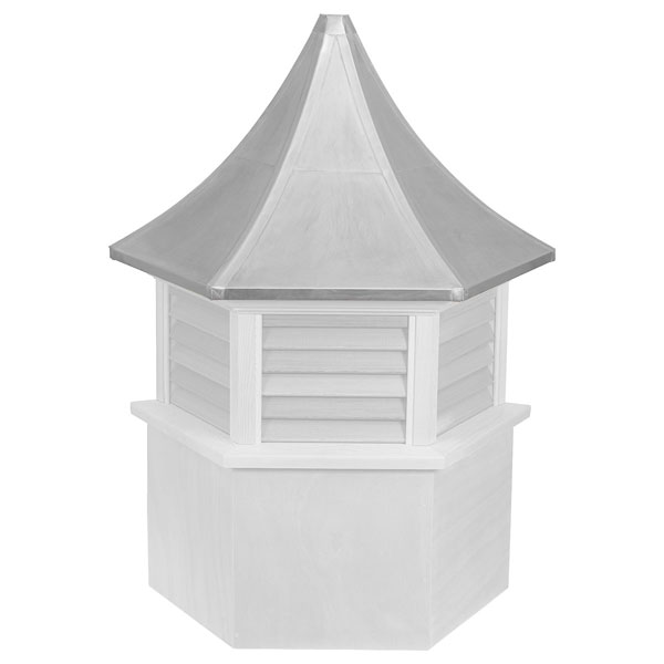 Vinyl Stephenson Presidential Hexagon Louver Cupola with Aluminum Roof
