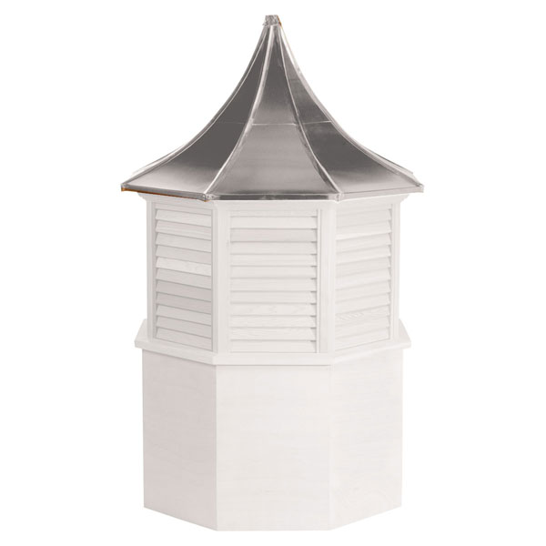 Vinyl Stephenson Presidential Octagon Louver Cupola with Aluminum Roof