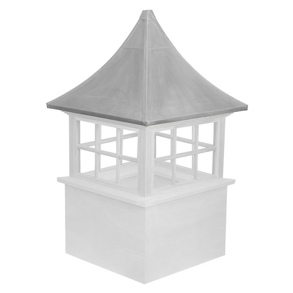 Vinyl Stephenson Governor 6-Lite Glass Window Cupola with Aluminum Roof
