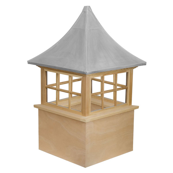 Western Red Cedar Stephenson Governor 6-Lite Glass Window Cupola with Aluminum Roof
