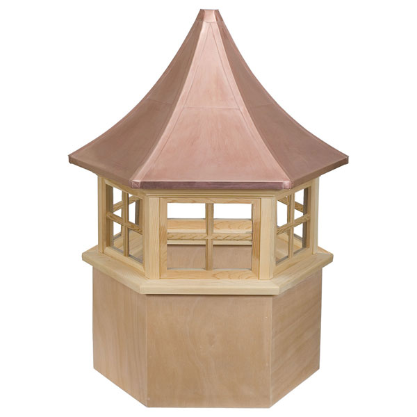 Western Red Cedar Stephenson Presidential Hexagon 4-Lite Glass Window Cupola with Copper Roof