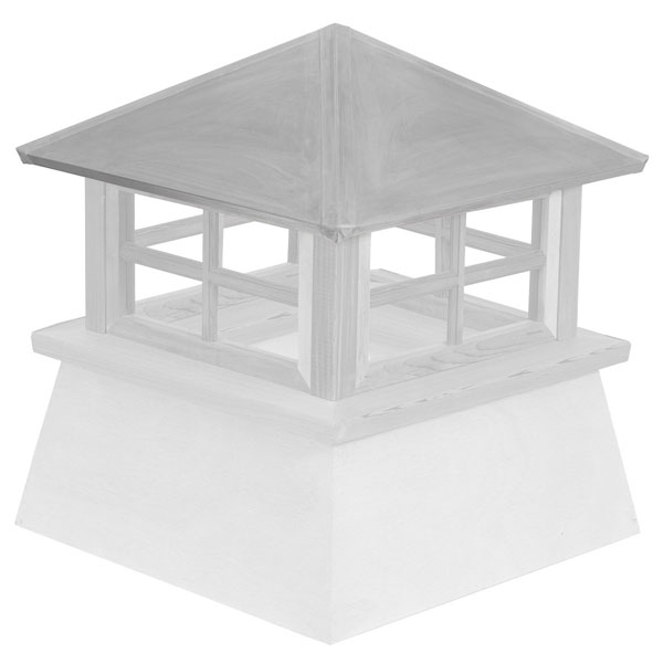 Vinyl Stephenson Manchester 4-Lite Glass Window Cupola with Aluminum Roof