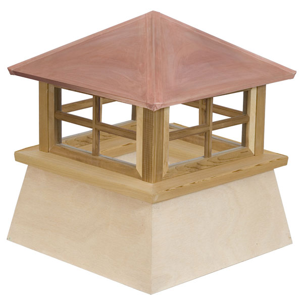 Western Red Cedar Stephenson Manchester 4-Lite Glass Window Cupola with Copper Roof