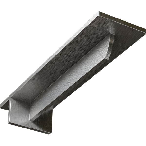 "3""W x 12""D x 2""H Heaton Hidden Support Bracket with 8"" Support Depth, Stainless Steel"
