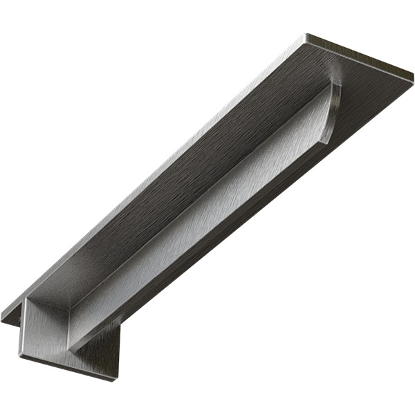 "3""W x 16""D x 2""H Heaton Hidden Support Bracket with 12"" Support Depth, Stainless Steel"