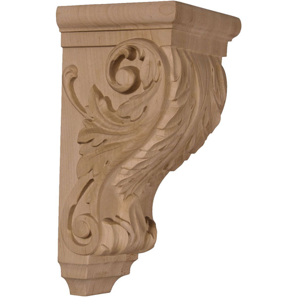 "5""W x 5""D x 10""H Medium Acanthus Wood Corbel"