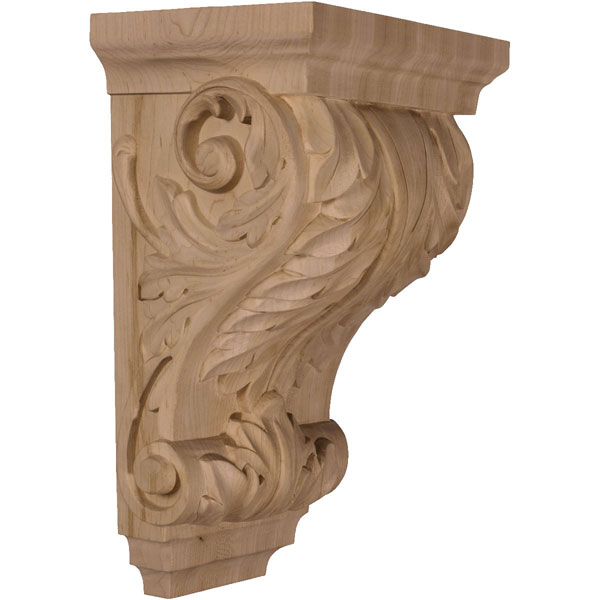 "8 1/2""W x 6 1/2""D x 14""H Large Wide Acanthus Wood Corbel"