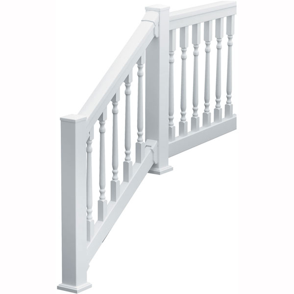 "QuickRail Straight Kit with Colonial Spindles, 36""H x 70 1/2""L (3 1/8"" Spindle Spacing), White"