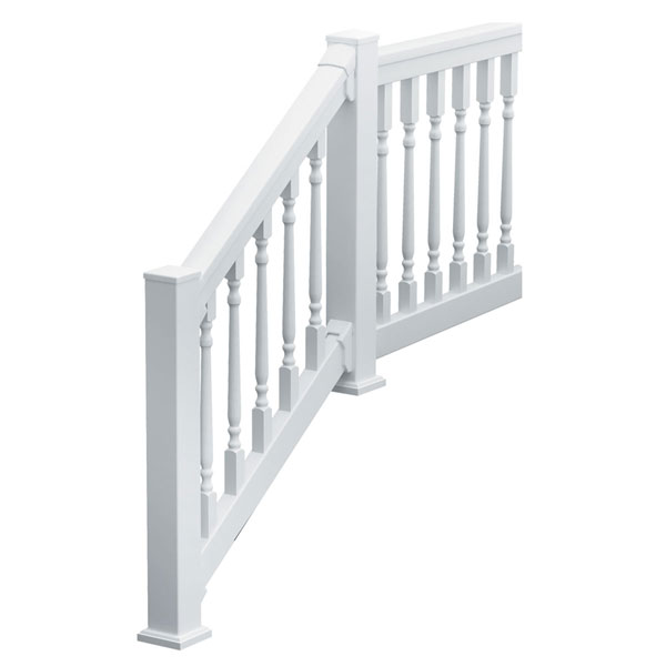 "QuickRail Straight Kit with Colonial Spindles, 36""H x 117 3/4""L (3 1/8"" Spindle Spacing), White"