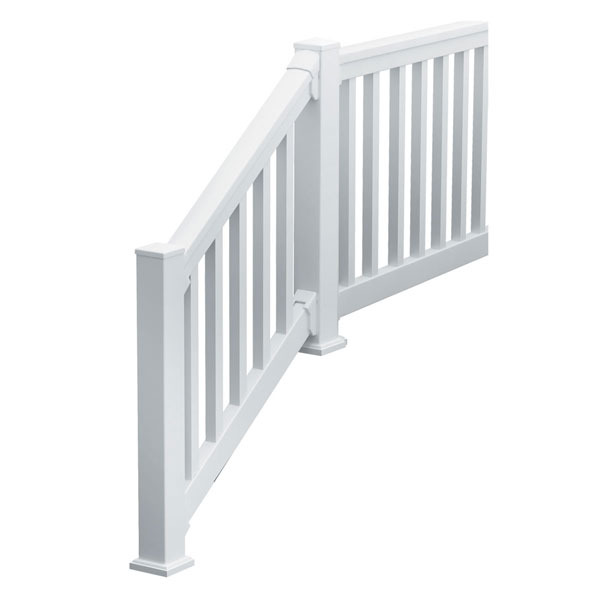"QuickRail Stair Kit with Square Spindles, 42""H x 126""L (3 1/8"" Spindle Spacing), White"