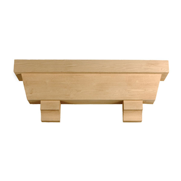"Tapered Pot Shelf with Corbels, Timber Texture, 60""W x 18""H x 10""P"