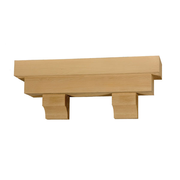 "Tapered Pot Shelf with Corbels, Timber Texture, 72""W x 14""H x 10""P"