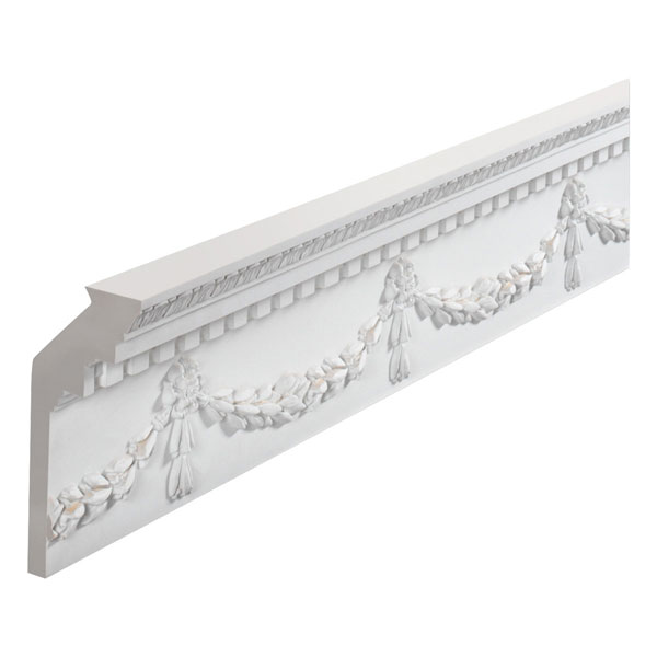 "9 1/2""H x 5/8""T/13/16""S x 4 1/4""P, 11' 5""Length, Dentil Garland Moulding"