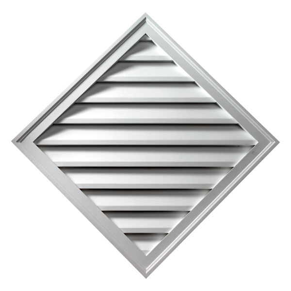 "33 15/16""H x 33 15/16""W Diamond Gable Vent Louver, Decorative"