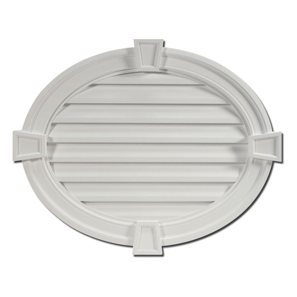 "37 1/2""W x 30""H Horizontal Oval Louver, with Decorative Trim and Keystones, Functional"
