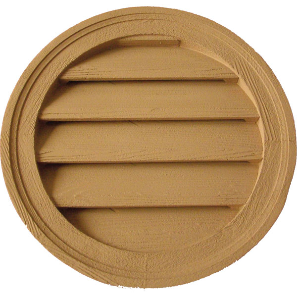 "22""W x 22""H Round Louver, Functional, Woodgrain/Stainable"