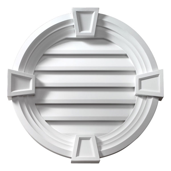 """24""""W x 24""""H Round Louver, Decorative with Trim and Keystones, Functional"""