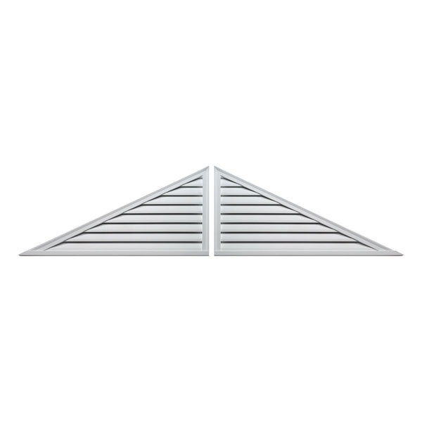 "60""W x 25""H Two-Piece Triangle Louver, 10/12 Pitch, Functional"