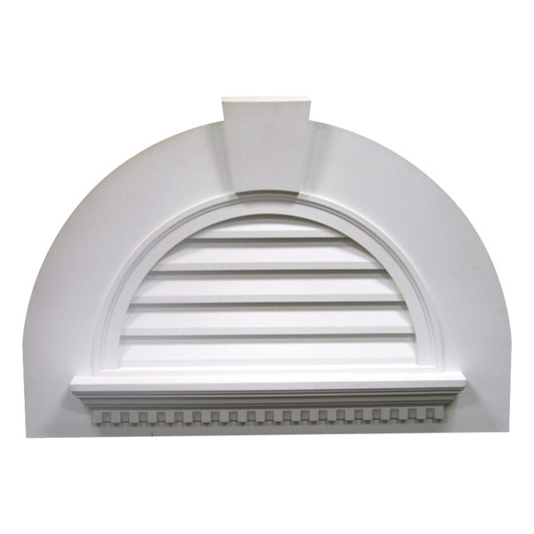 "41 5/8""W x 29""H Half Round Louver with Crosshead Dental and Keystone, Decorative"
