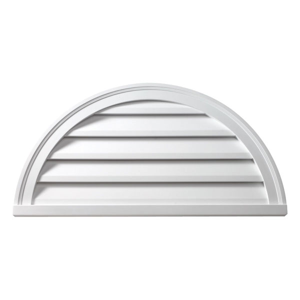 "72""W x 36""H Half Round Louver, Decorative"