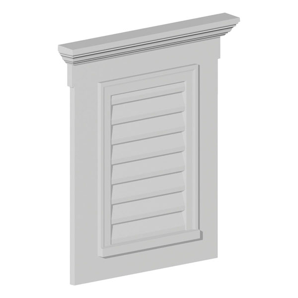 "26 1/2""W x 33 1/2""H Vertical Louver with 4F Trim and 6"" Crosshead, Decorative"